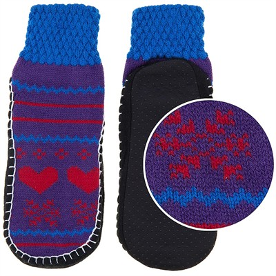 Purple and Blue Heart Knit Slipper Socks for Women