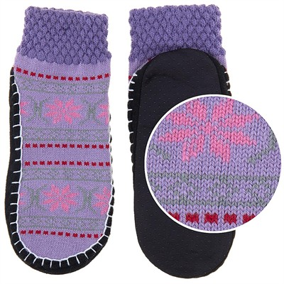Purple and Pink Knit Slipper Socks for Women