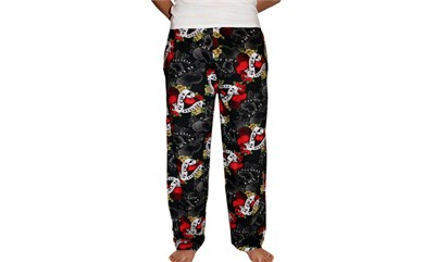 Fun Boxers Tattoo Hearts Valentine's Day Pajama Pants for Men