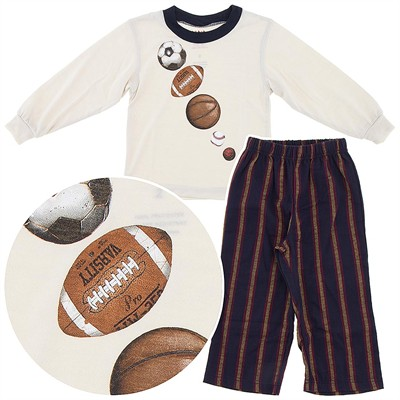 Wes and Willy Sports Print Pajamas for Boys