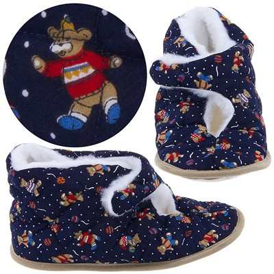 Navy Bear Bootie Slippers for Women