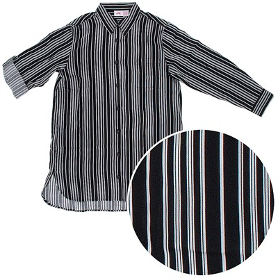 Black Striped Woven Cotton Nightshirt for Women