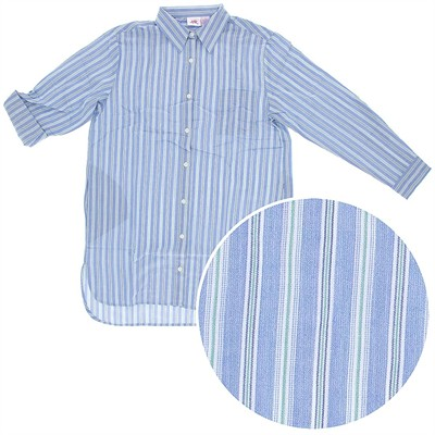 Blue Striped Woven Cotton Nightshirt for Women