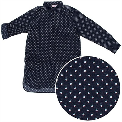 Navy Polka Dot Woven Cotton Nightshirt for Women