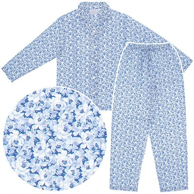 Blue Floral Woven Cotton Pajamas for Women