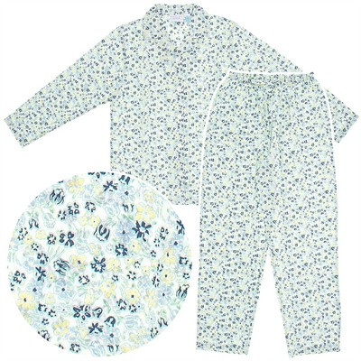 Blue and Yellow Floral Woven Cotton Pajamas for Women