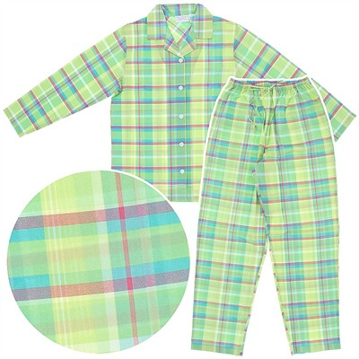 Green Plaid Woven Cotton Pajamas for Women
