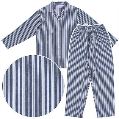 Navy Striped Woven Cotton Pajamas for Women