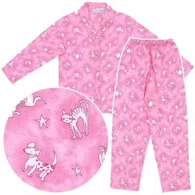 Pink Pet Flannel Pajamas for Women