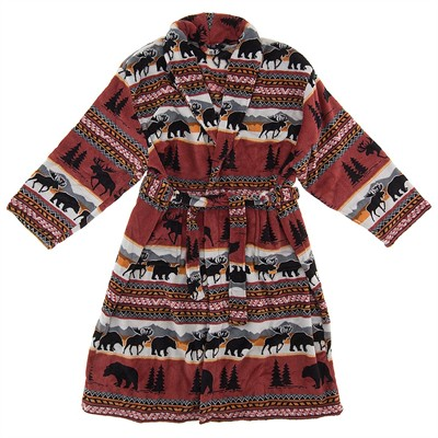 Bear and Moose Fleece Bathrobe for Women