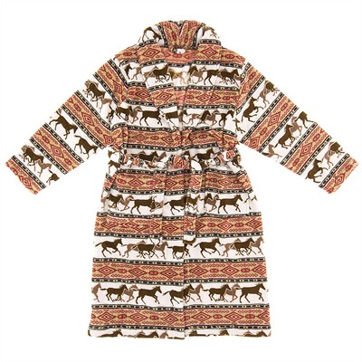 Horse Print Fleece Bathrobe for Women