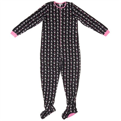 Black Skull and Heart Footed Pajamas for Women
