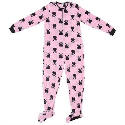 Pink Heart Footed Pajamas for Women