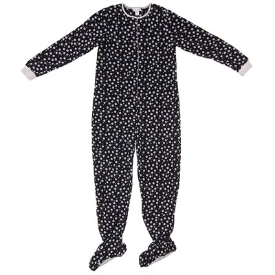 Black Polka Dot Footed Pajamas for Women