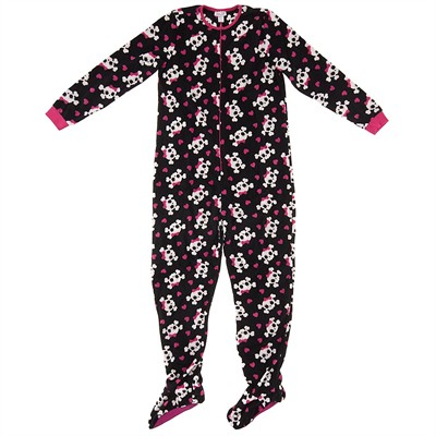 Black Skull Footed Pajamas for Women
