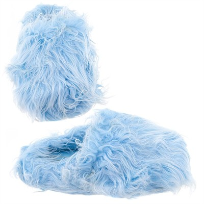 Light Blue Fuzzy Slippers for Women