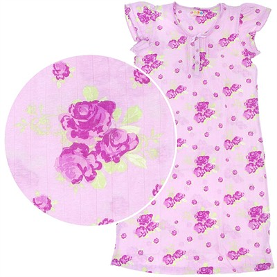 Pink on Pink Floral Cotton Nightgown for Women