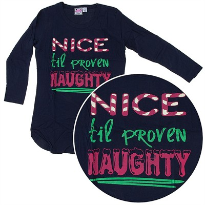 Black Nice Til' Proven Naughty Nightshirt for Women