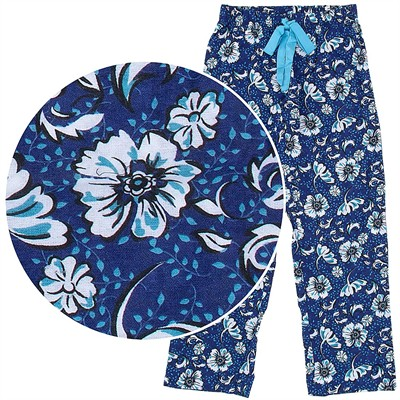Blue Floral Pajama Pants for Women