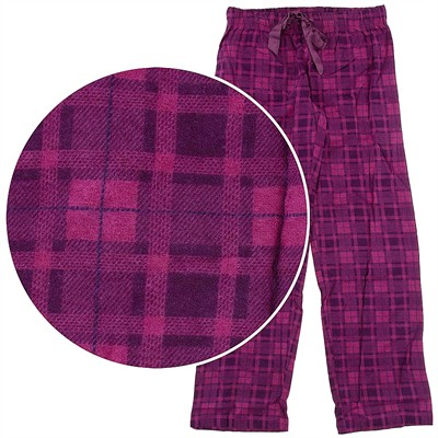 Dark Pink Check Pajama Pants for Women