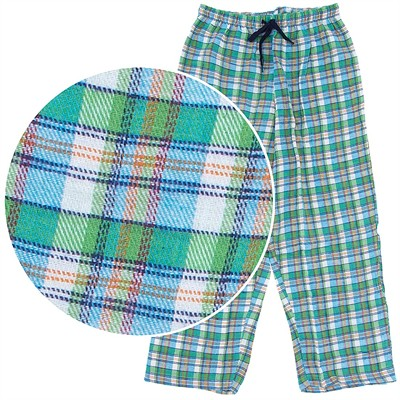 Green and Orange Plaid Flannel Pajama Pants for Women