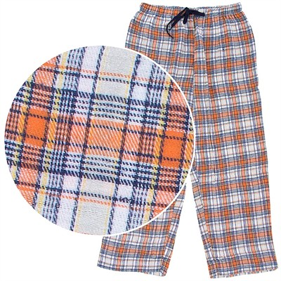 Orange and Navy Plaid Flannel Pajama Pants for Women