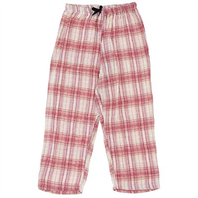 Red and Tan Plaid Flannel Pajama Pants for Women