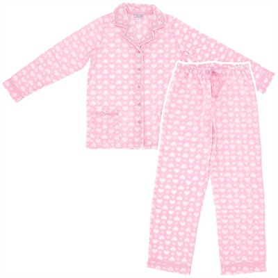 Pink Polka Dot Fleece Pajamas for Women