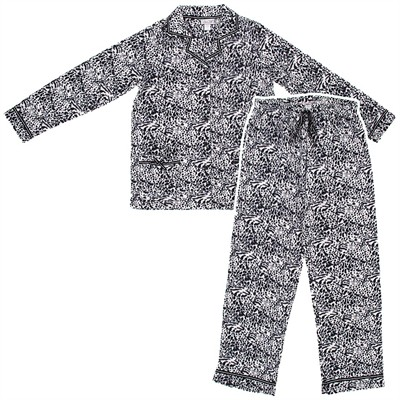 Black Leopard Fleece Pajamas for Women
