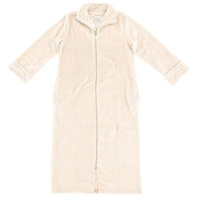 Oscar de la Renta Beige Zippered Bathrobe for Women