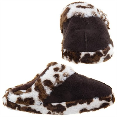Brown Leopard Trim Slippers for Women