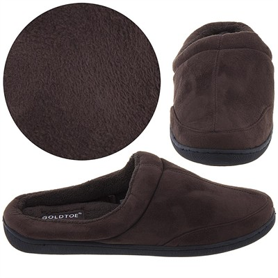 Gold Toe Brown Clog Slippers for Men