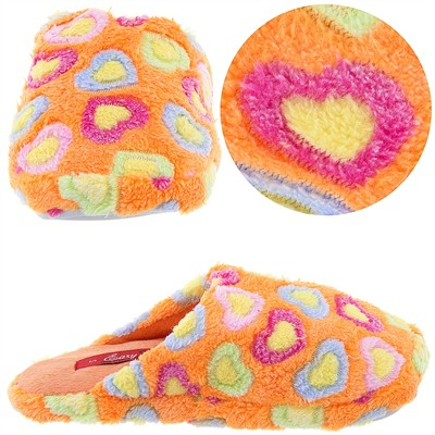 Orange Heart Slip On Slippers for Women