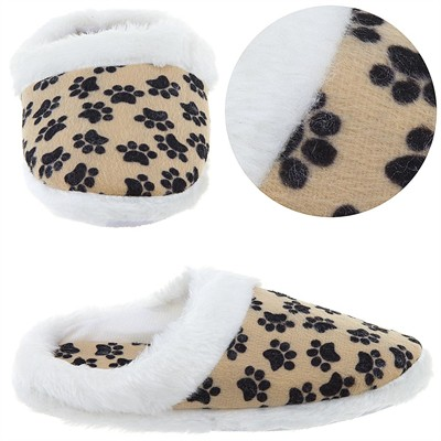Paw Print Slippers with White Trim for Women