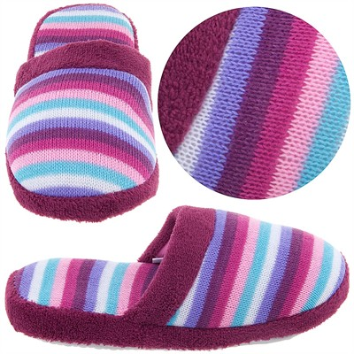 Plum Striped Knit Slippers for Women
