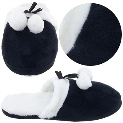 Black Slippers with Faux Fur Slippers for Women