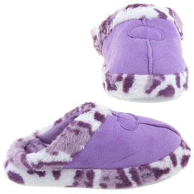 Purple Leopard Trim Slippers for Women