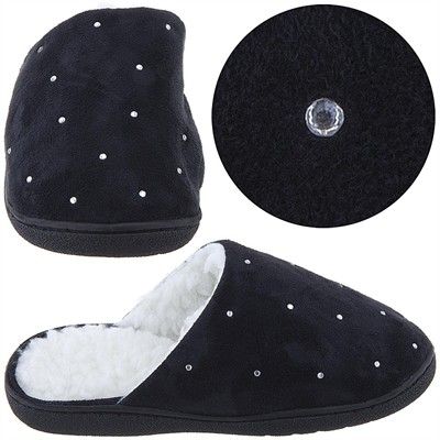 Harve Benard Black Rhinestone Slippers for Women