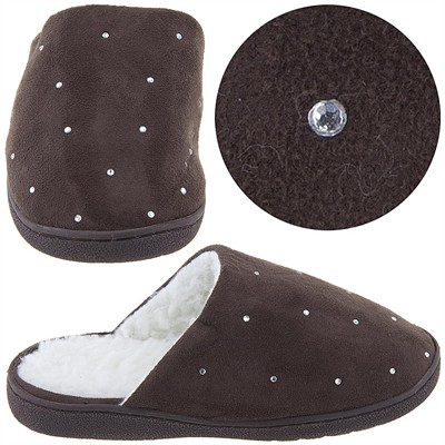 Harve Benard Brown Rhinestone Slippers for Women