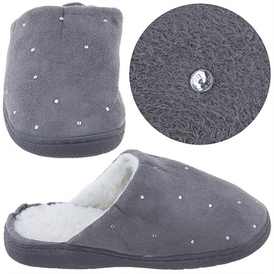 Harve Benard Gray Rhinestone Slippers for Women