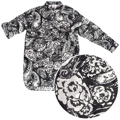 Black Floral Woven Cotton Nightshirt for Women