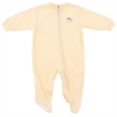 Yellow Solid Footed Sleeper Pajamas for Infant Girls