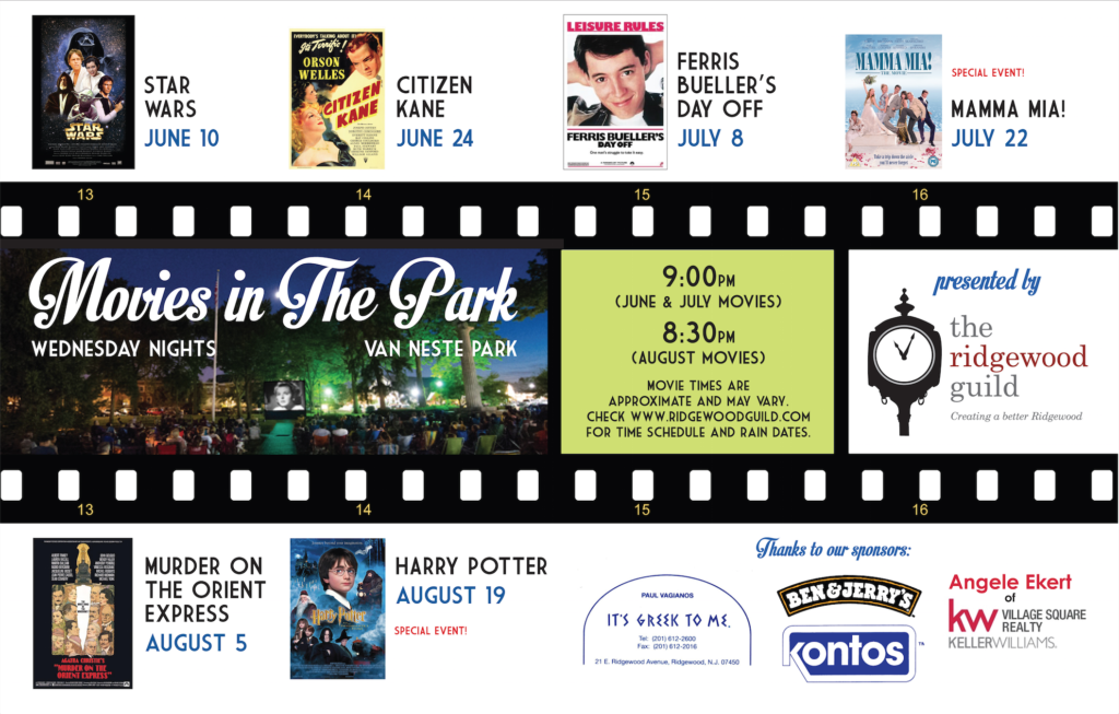 2015 Ridgewood Guild Movies in the Park Schedule