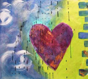 a heart painting created on player piano paper