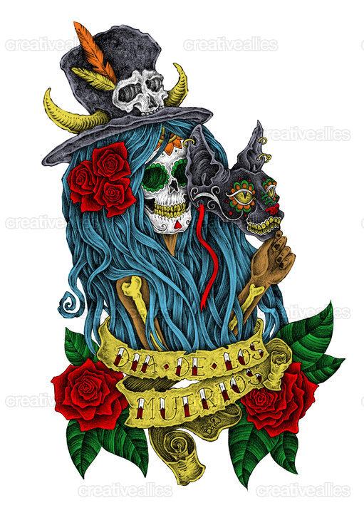 Day of the Dead Ally Art by vaso delirium