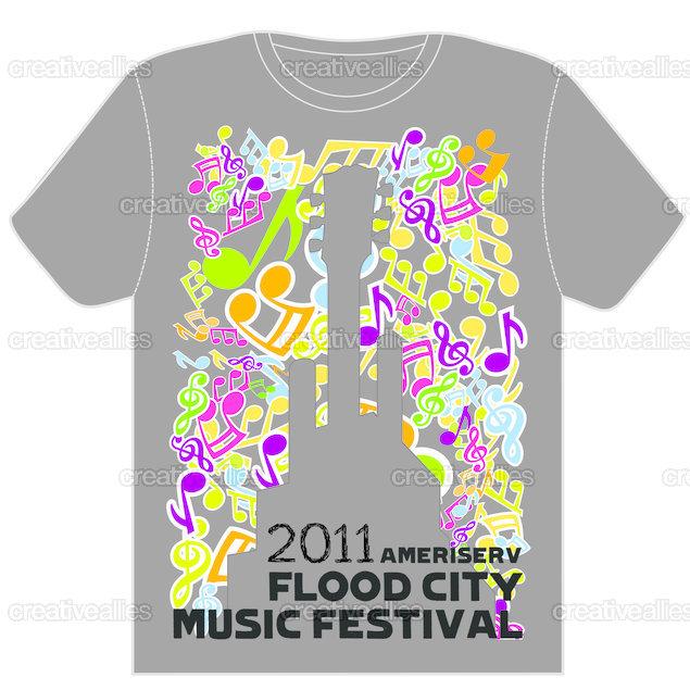 Design the t shirt for ameriserv flood city music festival for T shirt design festival