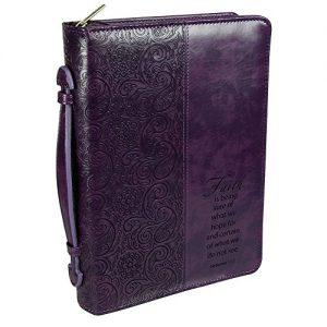 "Purple ""Faith"" Bible / Book Cover - Hebrews 11:1 (Large)"