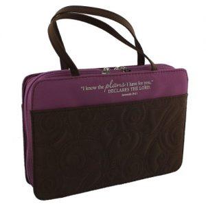 Purple Micro-Fiber Purse-Style Quilt Stitched Bible / Book Cover - Jeremiah 29:11 (Medium)