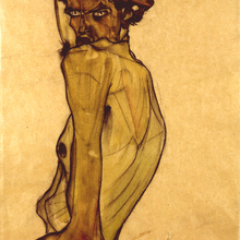 Egon schiele selfportrait witharm twiste 3 0