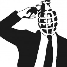Businessman grenade head stencil 560x468